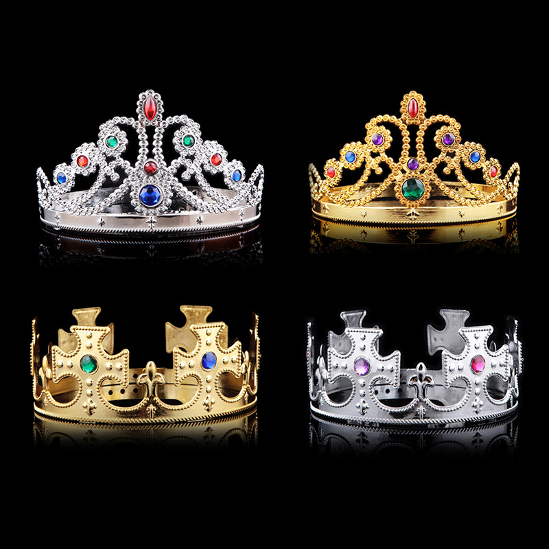Cosplay King Queen Headwear Hairband Party Halloween Gift Princess Diamond Crystal Crown For Kids Child Birthday blue indian luxury headpieces king queen unisex cosplay costumes diamond feather headdress for women and men peagents carnival