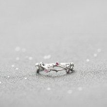 New Silver Tree Branches Leaves Finger Rings Fashion Jewelry 925 Red Zircon Ring Women Classic Adjustable Size