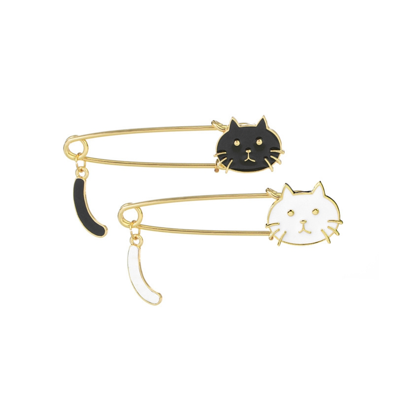 TOMYE 2 Pcs Women's Brooches Set, Hollow Out Cute Cat - XS046