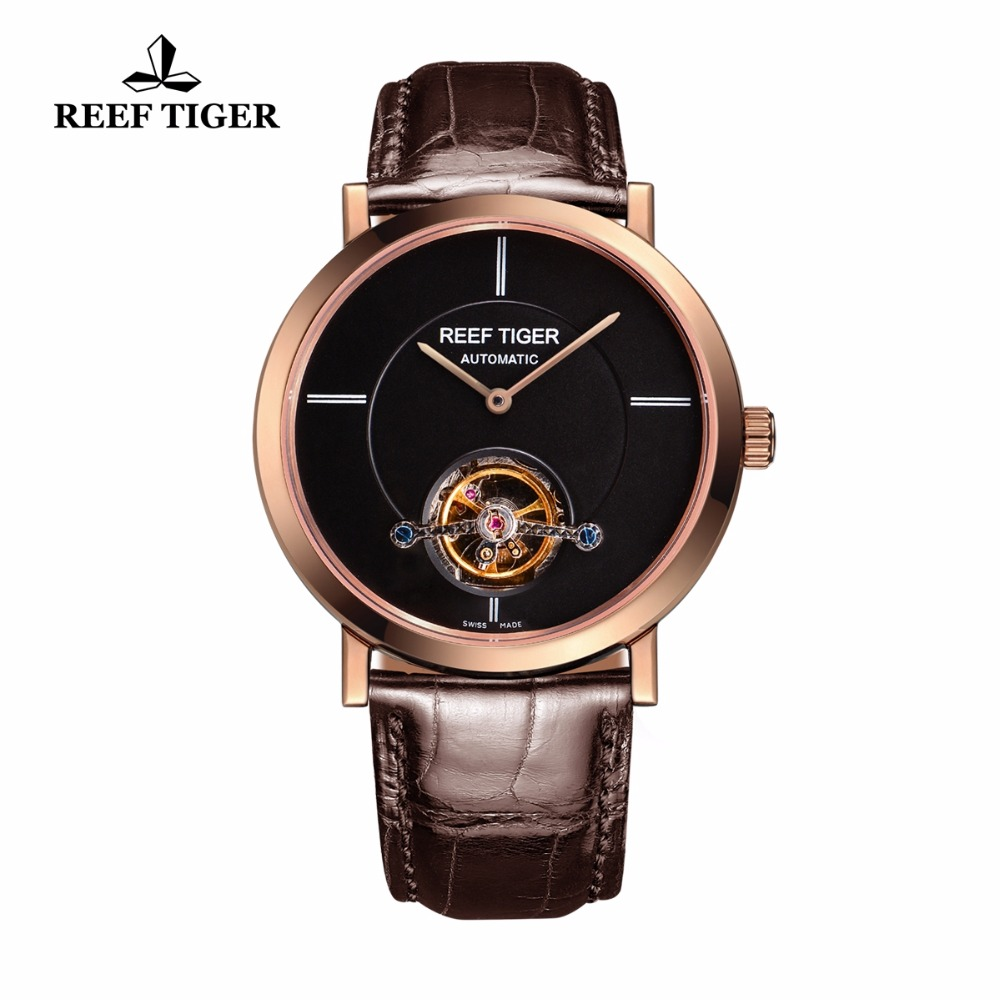 Reef Tiger/RT Watches Luxury Brand Automatic New Business Tourbillon Mechanical Watches For Mens Rose Gold Watches RGA1610 yn e3 rt ttl radio trigger speedlite transmitter as st e3 rt for canon 600ex rt new arrival
