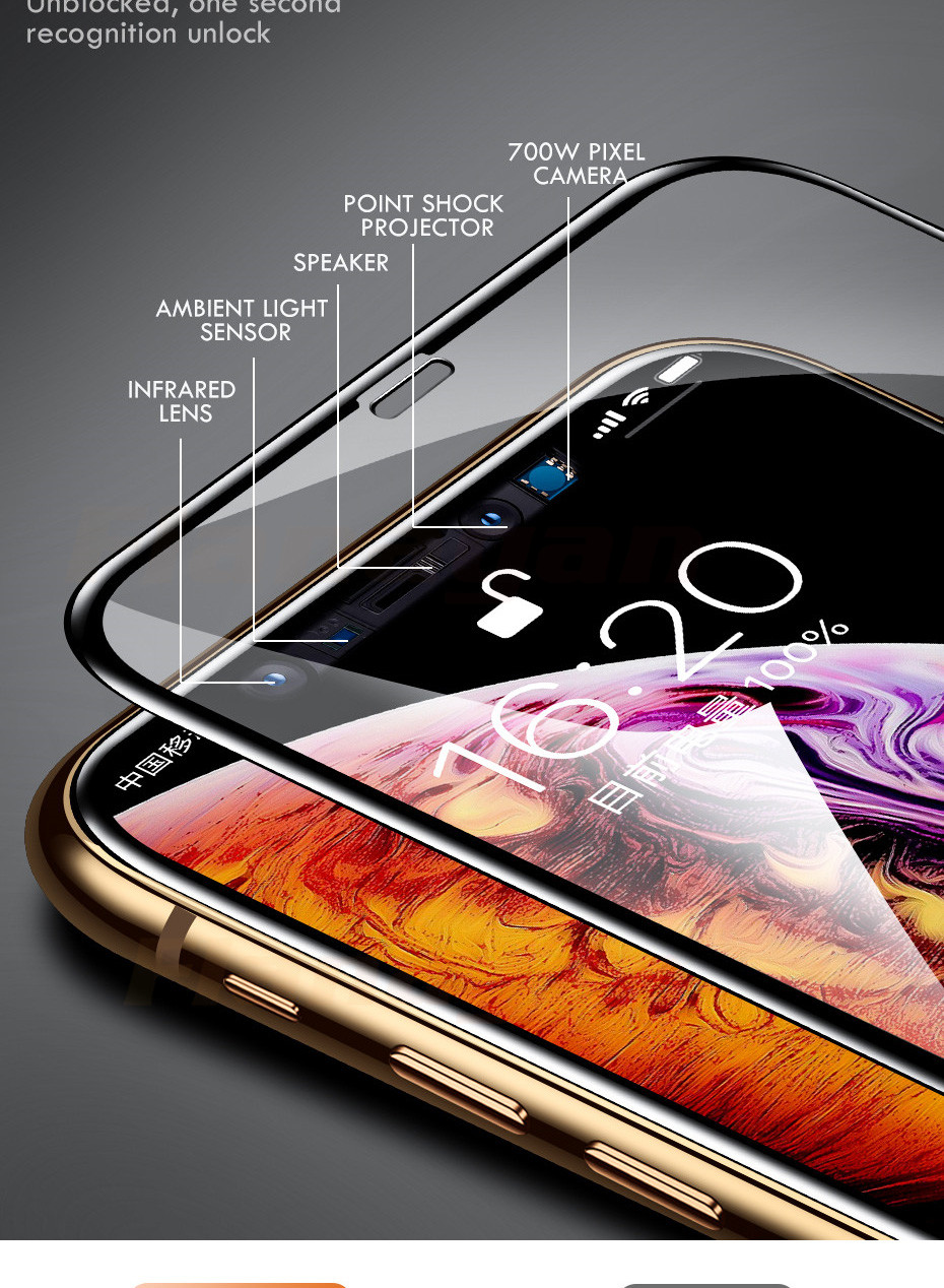 15D Protective Glass on the For iPhone 6 6s 7 8 plus XR X XS glass full cover iPhone Xs Max Screen Protector Tempered Glass 7