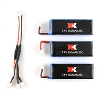 3pcs 7 4V 25C 950mah Lipo Battries And Battery Charger Cable For XK X251 Quadcopter