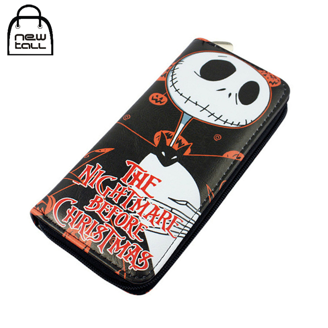 newtall cartoon the nightmare before christmas jack skellington pu leather long zipper purse card holder clutch - Christmas Jack Skellington
