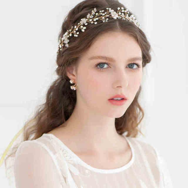 Dower me Fashion Gold Silver Crystal Pearl Wedding Headband Rhinestone Bridal  Hair Vine Accessories Handmade Women fafecf0eb265
