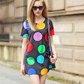 Mujeres imprimir vestido de la Nueva Llegada de Manga corta Del O-cuello Verano de Las Mujeres grande Sudor Punto Mini Vestidos marca puntos coloridos vestidos Plus tamaño