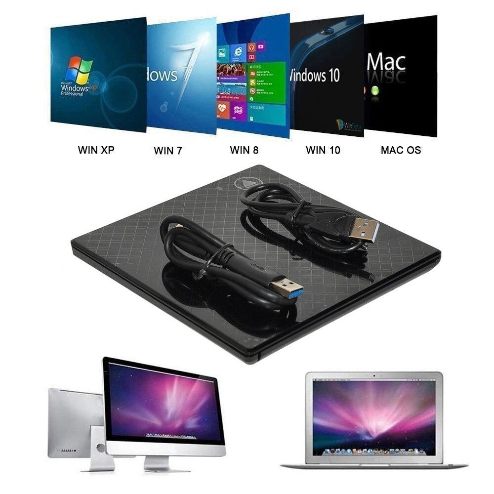 Blu-Ray Drive Slim USB 3.0 Bluray Burner BD-RE CD/DVD RW Writer Play 3D 4K Blu-ray Disc for Laptop Mac PC HP ACER ASUS XIAOMI