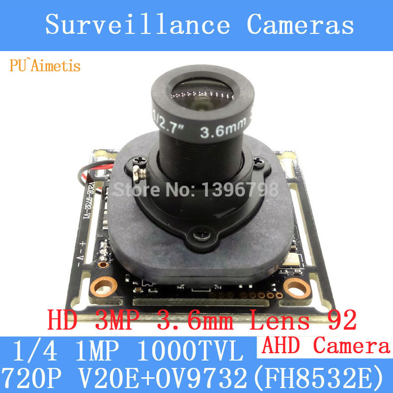 PU`Aimetis 720P AHD 4in1 1000TVL OV9732 CCTV Camera Module 3MP 3.6mm Lens Video surveillance camera IR-CUT dual-filter switch smar home security 1000tvl surveillance camera 36 ir infrared leds with 3 6mm wide lens built in ir cut filter