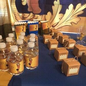 Image 4 - 5 sztuk śliczne księżniczka książę Kraft cukierkowa torebka na prezent pudełko płeć ujawnić Baby Shower chłopiec dziewczyna 1st dekoracja na roczek na rzecz