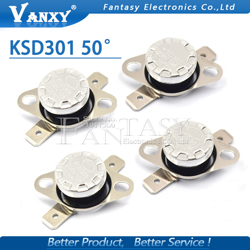 5PCS New KSD301 50 Degree 250V 10A Normal Close Temperature Controlled Switch Thermostat Wholesale Electronic