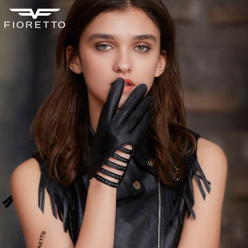 Fioretto femmes gants en cuir nouvelle mode dames mitaines Rivets sangle Punk gris noir gants creux en cuir conduite gants femmes