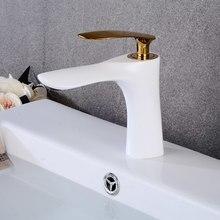 Смесители для раковины в ванную комнату, белый кран с одной ручкой, для горячей и холодной воды
