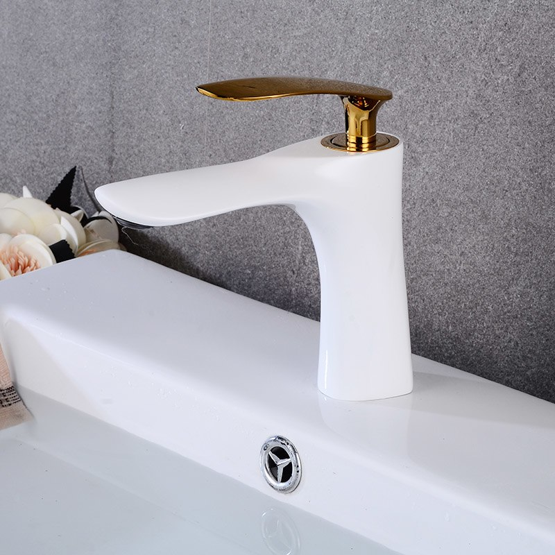 White with Gold Basin Faucets Bathroom Faucet Single handle Basin Mixer Tap Hot and Cold Water Tap Basin FaucetWhite with Gold Basin Faucets Bathroom Faucet Single handle Basin Mixer Tap Hot and Cold Water Tap Basin Faucet