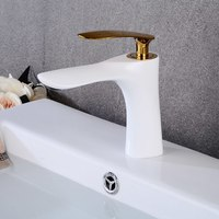 White with Gold Basin Faucets Bathroom Faucet Single handle Basin Mixer Tap Hot and Cold Water Tap Basin Faucet