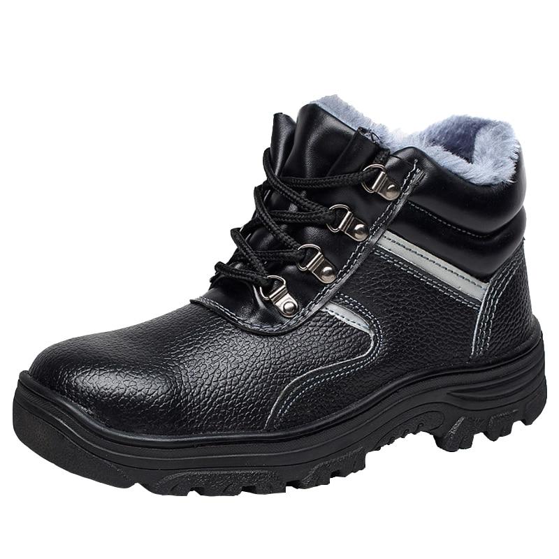 Caps Quente Tamanho Algodão Sapato Dos Segurança Casuais Tornozelo Pelúcia Calçados Homens Botas Couro Inverno Vaca Trabalho Neve Toe De Steel Grande TrqCqXanY