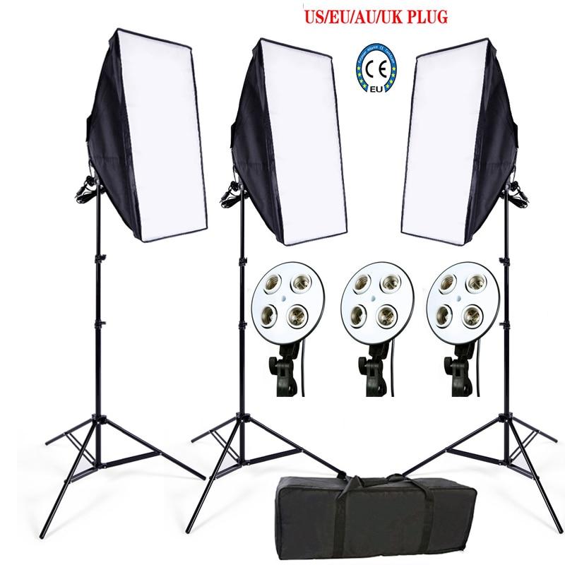 Russian Free Tax Photo Studio Softbox kit 3 light stand 3 light holder 3 softbox 1pc