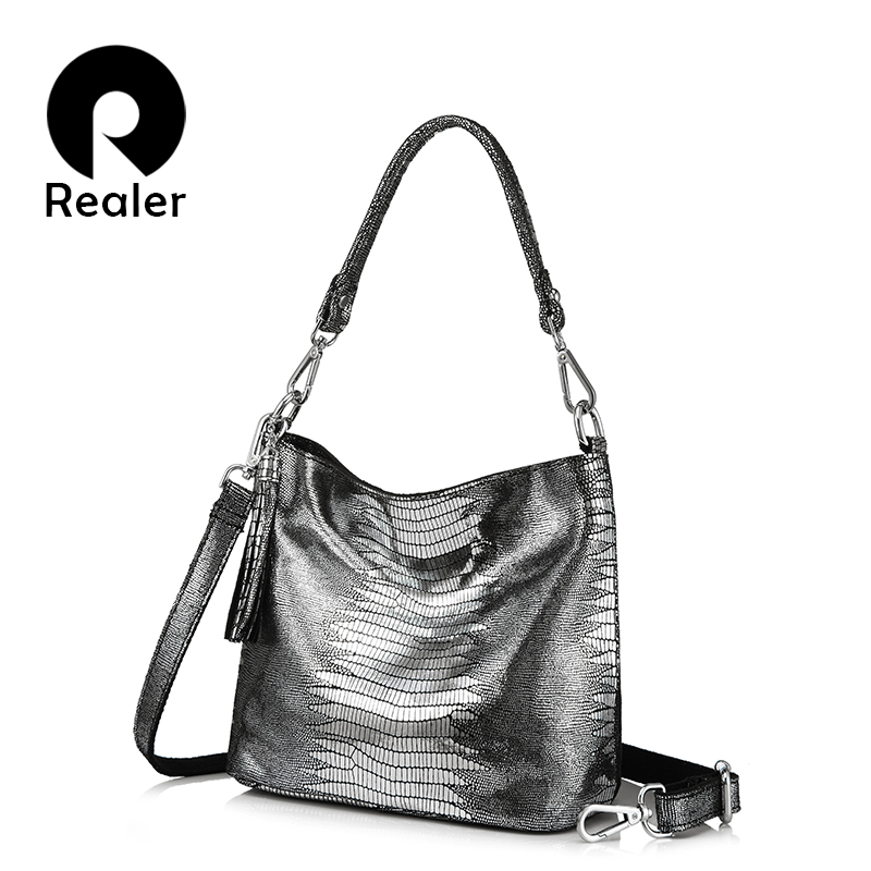 REALER women handbag genuine leather crossbody shoulder bags female hobos bag animal prints leather messenger bags for ladies