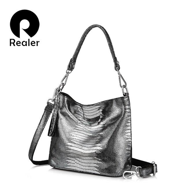 REALER сумка женская натуральная кожа, женские сумки через плечо с принтами ящерицы, кожаная сумка мессендр для женщин высокого качества