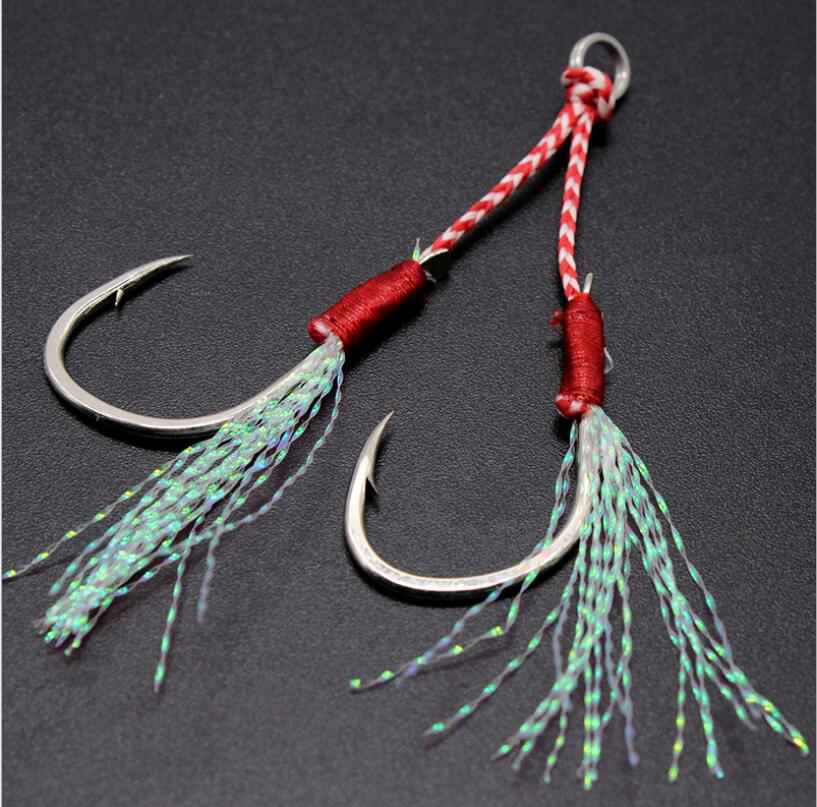 Fishing Hook 3pcs/lot Fishing Cast Jigs Assist Hook Double Jig Hooks Thread Feather Pesca fishing lure slow jigging Sea Tackle
