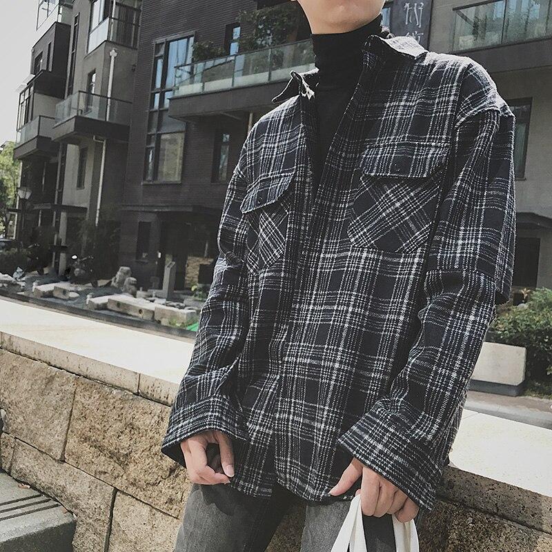 2017 Autumn men s new style thicken Grid cloth Long sleeve shirt Young wool shirt Men