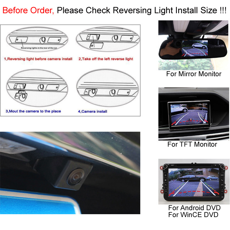 GreenYi Intelligent Dynamic Trajectory Tracks Parking Line Reverse Rearview Parking Camera For Mitsubishi Outlander 2007-2015 4
