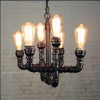 Loft Stil Schmiedeeisen Vintage Pendelleuchte Industrie Rohr Edison birne Leuchte Bar Kreative Retro Art Deco Beleuchtung-in Pendelleuchten aus Licht & Beleuchtung bei