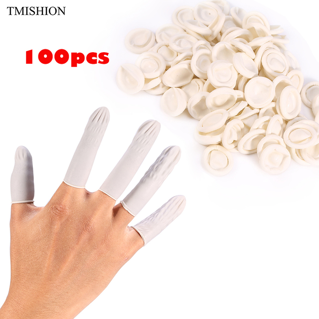 100pcs Disposable Anti Static Rubber Latex Finger Cots For Tattoo