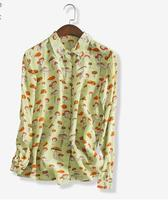 New Pattern Women S Silk Work Wear And Satins Silky Blackish Green Silk Shirt Female 100