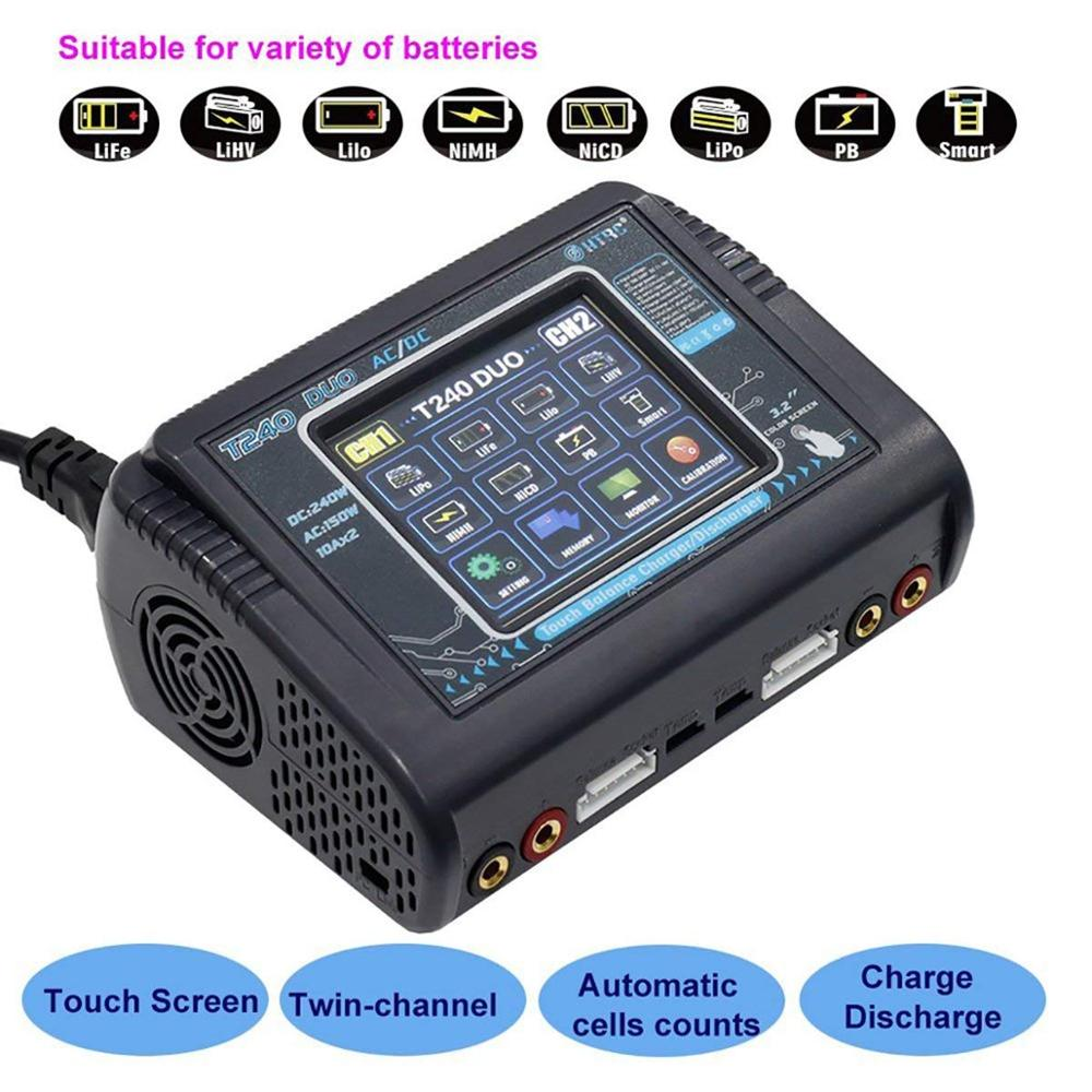 HTRC T240 Touch Screen Dual Channel Batterij Balans Lader Ontlader DUO AC 150W DC 240W 10A Voor RC modellen Speelgoed-in Onderdelen & accessoires van Speelgoed & Hobbies op  Groep 1