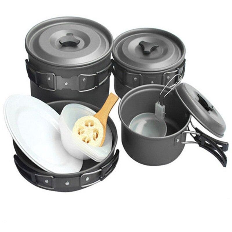 Ustensiles de cuisine de Camping en plein air ustensiles de cuisine antiadhésifs pique-nique Pot Pan Set vaisselle pour Trekking, randonnée, sac à dos équipement touristique