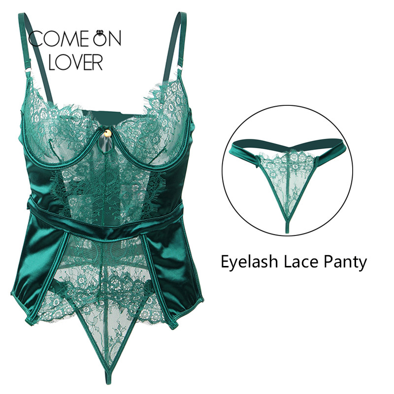 Comeonlover Sexy Christmas Lingerie Babydoll Plus Size Green Transparente Dessous Sexy Hot Erotic Sexy Lace Lingerie RI80535