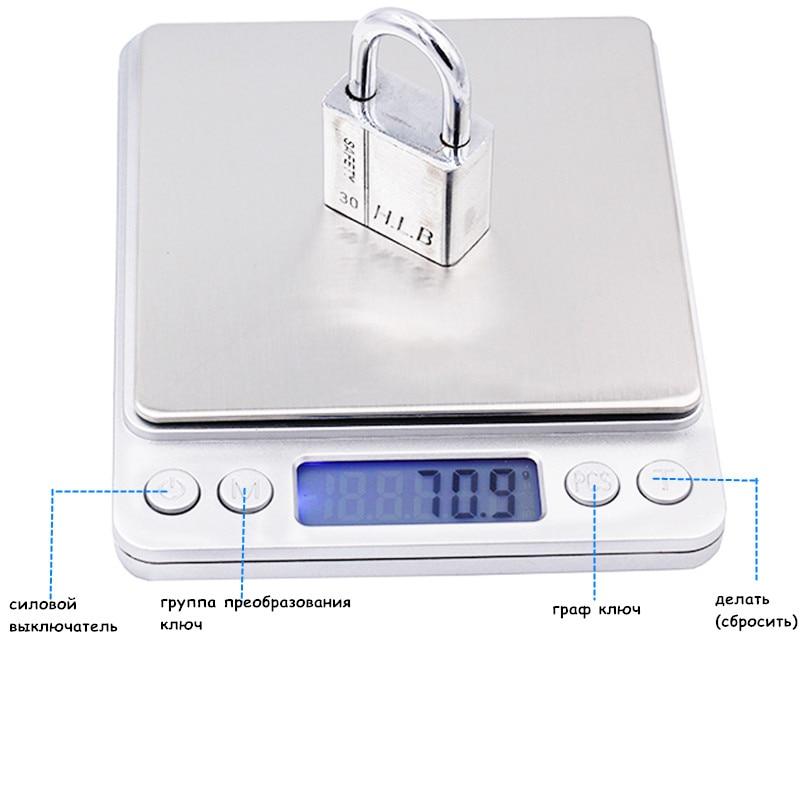 3000g x 0,1g Digitaalne taskuskaala 3kg 0.1 Juveeli kaalud - Mõõtevahendid - Foto 3