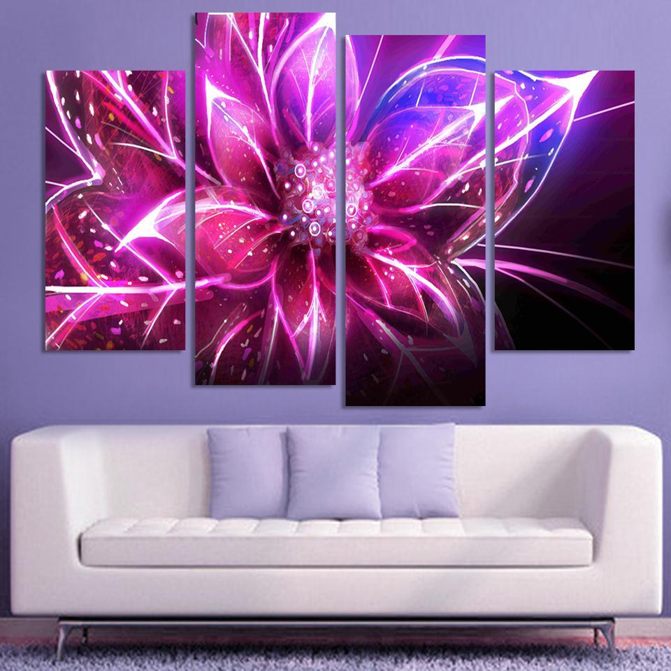 3 Piece Purple Cherry Blossom Muti Panel Abstract Modern: 4 Piece Cheap Abstract Canvas Art Modern Wall Painting