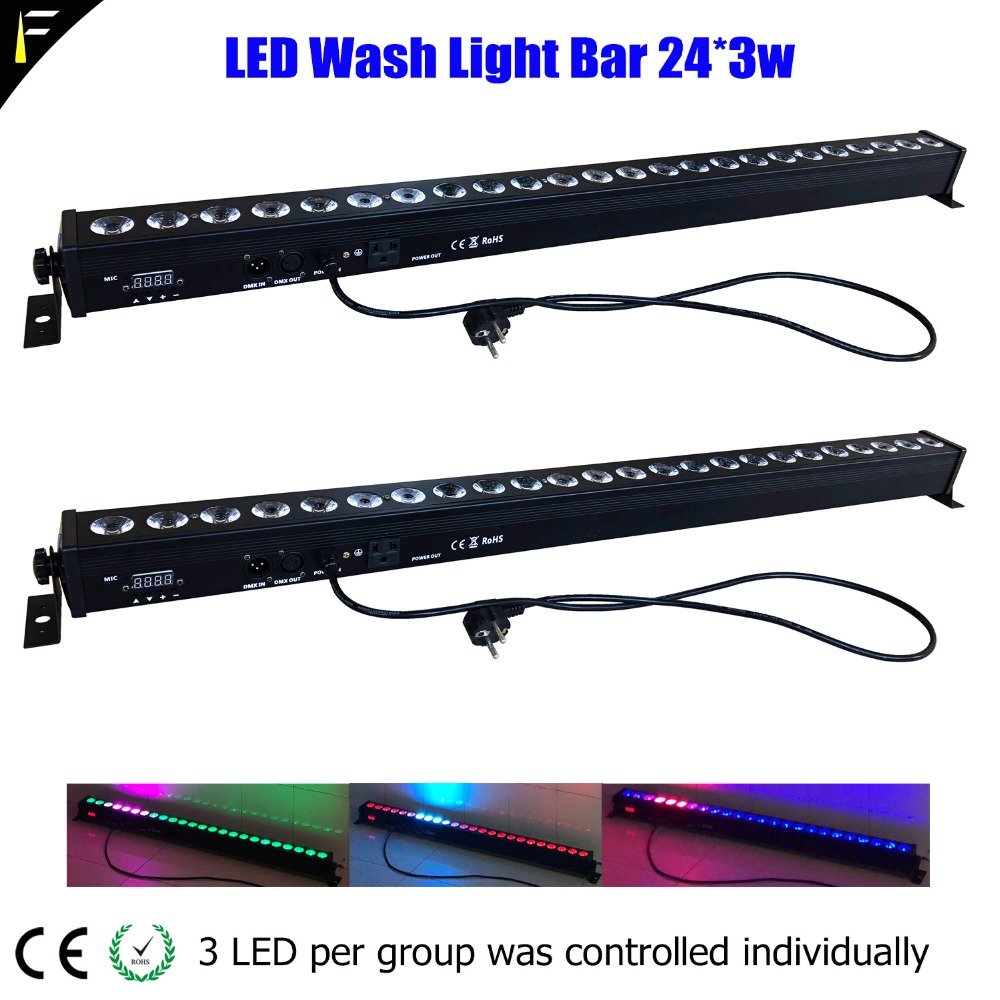 Background Wall Light Wall Washer Bar LED 24*3w DMX512 Disco Floodlight Strip Flood Stage Wall Bar Stage Truss Bar Color Effect