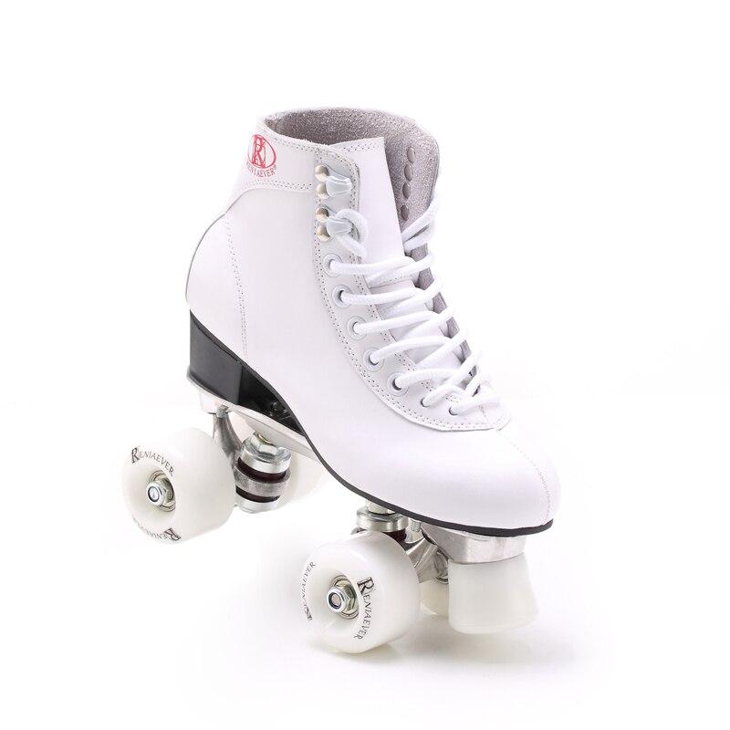 Prix pour Reniaever En Cuir Quad patins à roulettes avec base En Aluminium blanc roues, blanc
