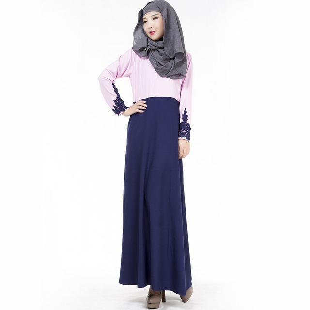 2016 Ropa Islámica Para Las Mujeres Abaya Islámico Negro Encaje Gasa Delgada Vestido Dubai Vestido Musulmán Del Abaya Musulmán de Manga Larga Vestido