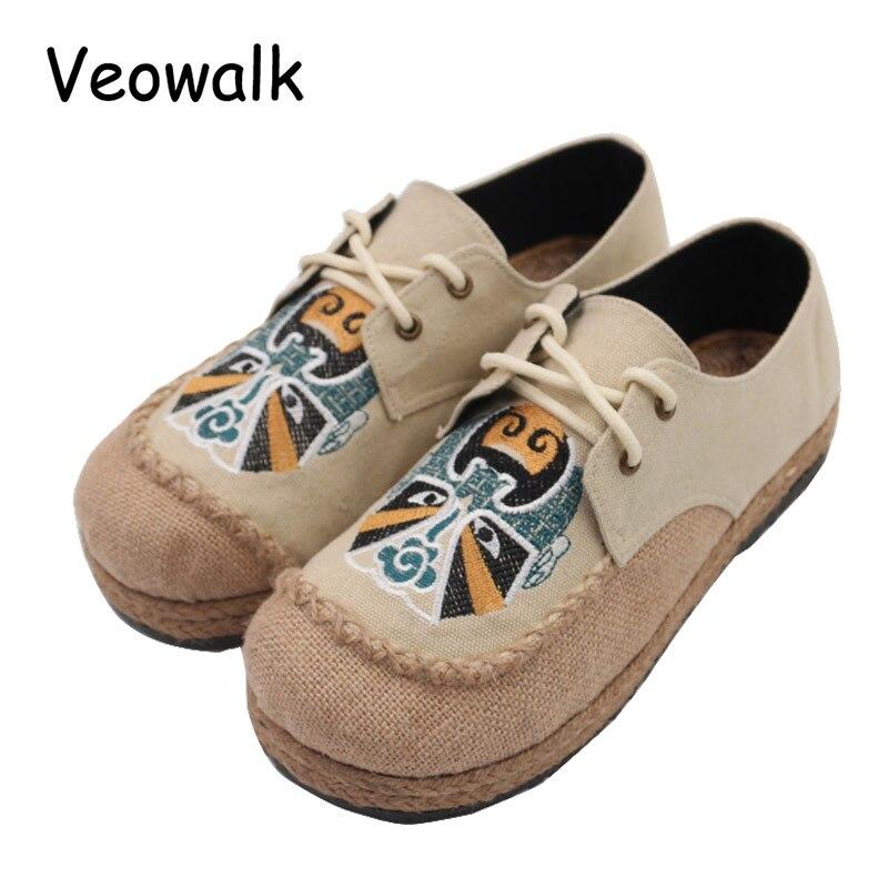 Veowalk Beijing Opera Embroidery Womens Casual Linen Cotton Loafers Lace up Vintage Ladies Walking Flat Shoes Plus Size 35-44 ому цветочное серия элит буйские удобрения 3кг