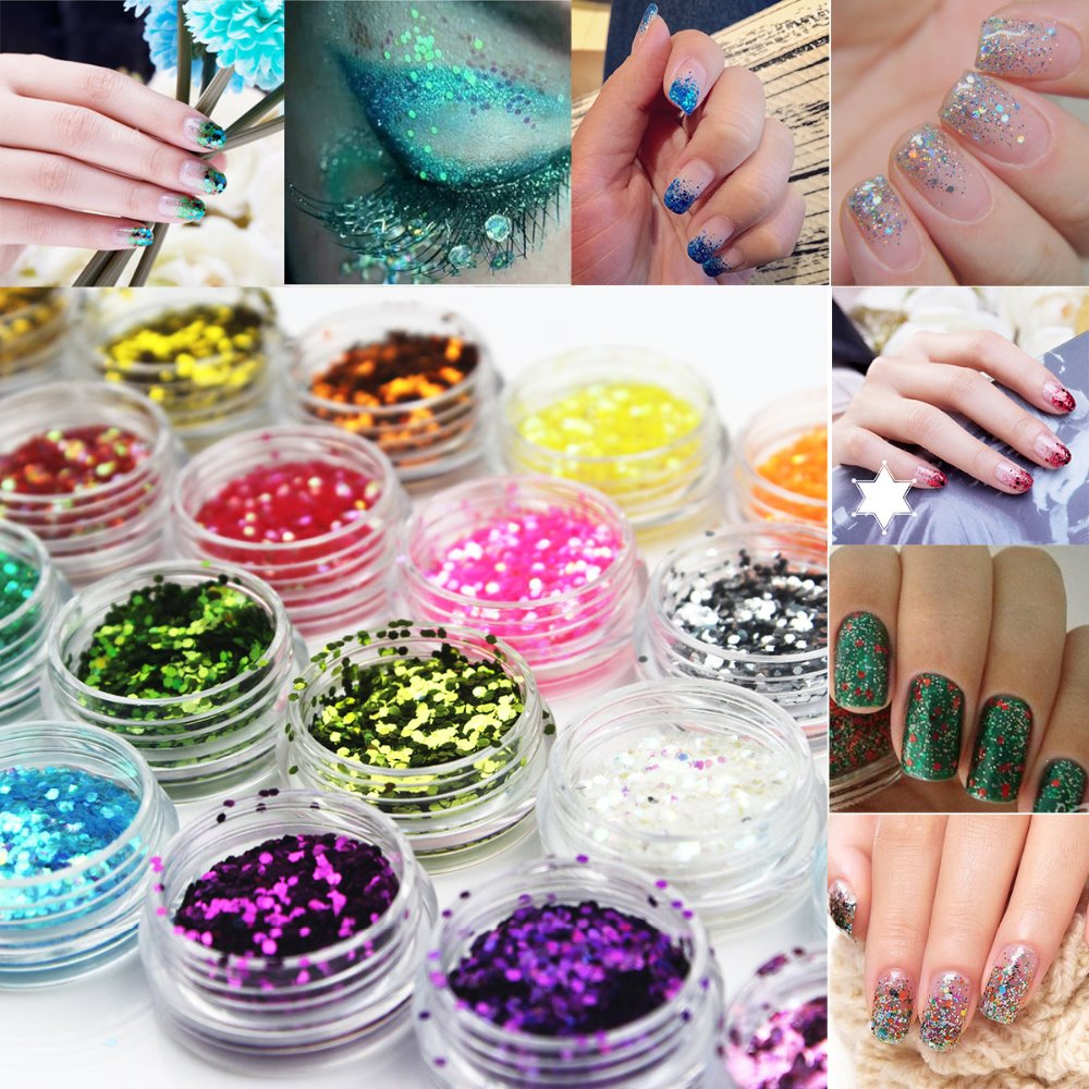 цены на 12 Colors Nail Art Glitter Sequins Powder Dust Tips Body Face Eye Makeup Decoration Easy Diy at Home в интернет-магазинах