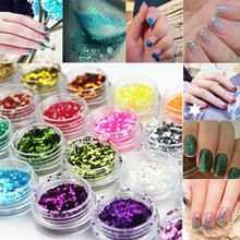 12 Colors Nail Art Glitter Sequins Powder Dust Tips Body Face Eye Makeup Decoration Easy Diy at Home