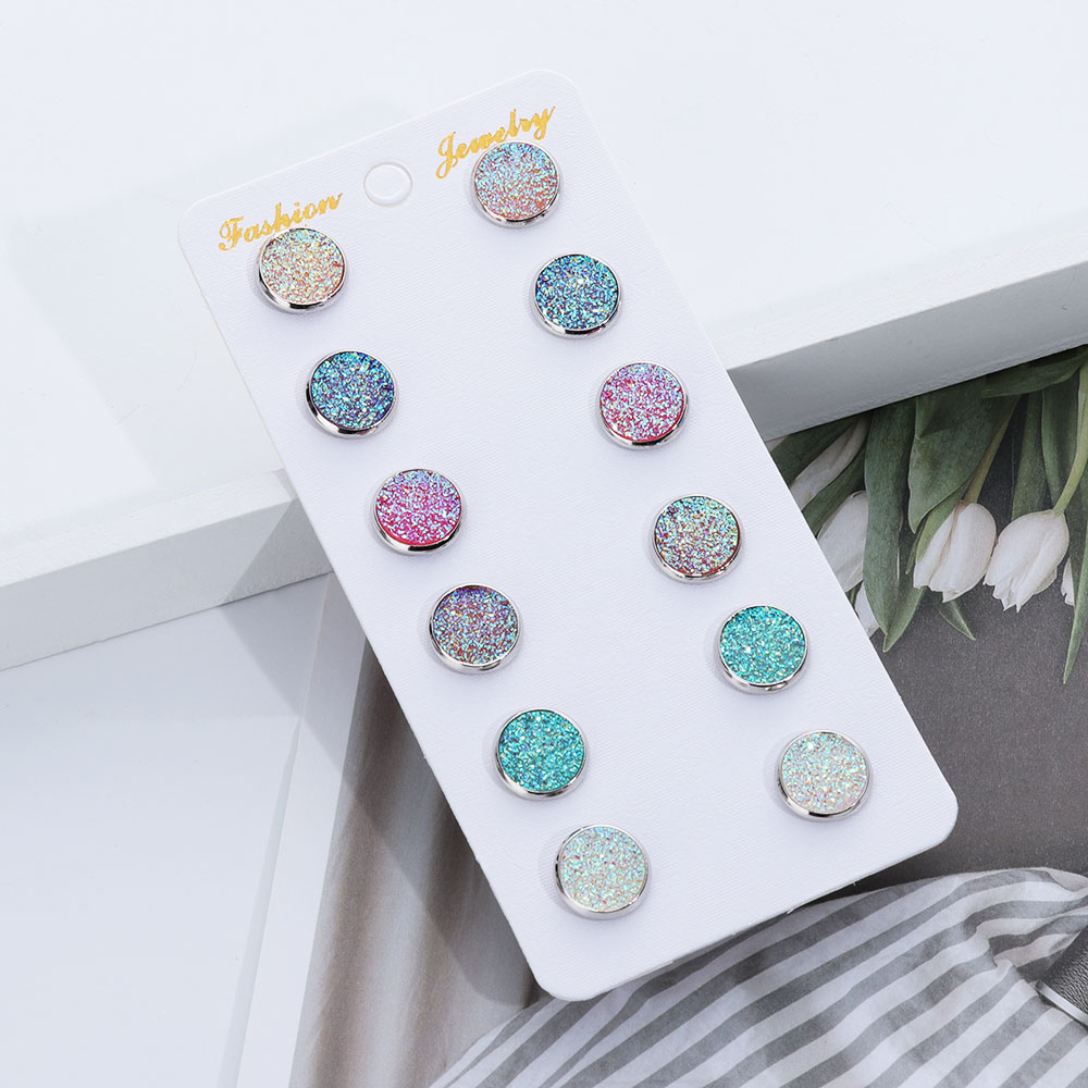 6 Pairs/Set Round 12mm Crystal Silver Round Druzy Stud Earrings Set Bling Bling Colorful Sparkly Rhinestone Unique Stud Jewelry