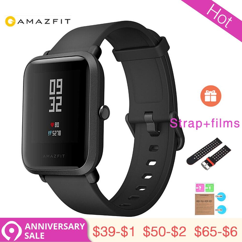 3.28 1 Année Garantie Mondiale Version XIAOMI Huami Amazfit Bip montres intelligentes GPS Smartwatch IP68 RH 45 Jours Veille pour MI8 IOS