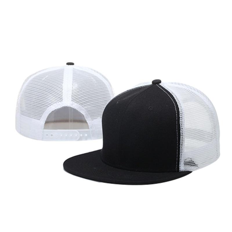 Women Men Adjustable Baseball Tennis Caps Mesh Breathable Snapback Flat Sun Hats Hip Hop Patchwork Sports Caps