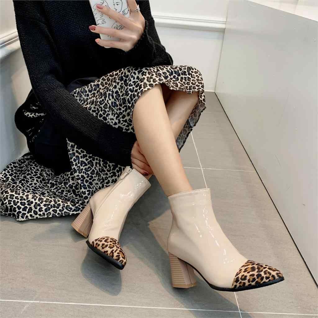 WETKISS Leopar Karışık Renkler Kadın yarım çizmeler Sivri Burun Kalın Topuk Yüksek Ayakkabı Kış Sıcak Tutmak Bootie Seksi Moda Botlar