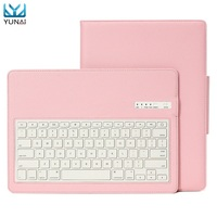 YUNAI Magnetic Removable Wireless Bluetooth Keyboard Case Cover PU Leather Folio Holder Stand Cover Case For