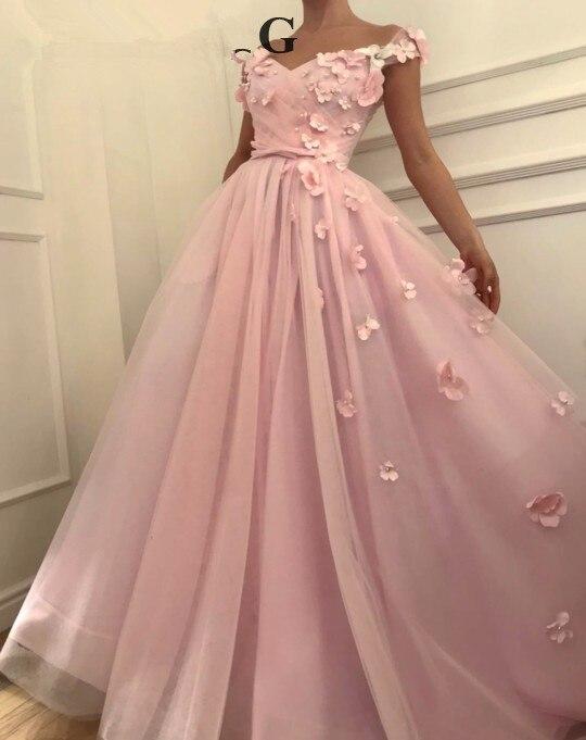 Pink Muslim Evening Dresses 2019 A line V neck Cap Sleeves Pearls Flowers Islamic Dubai Saudi