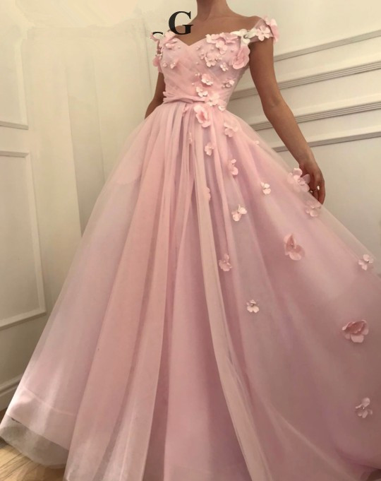Pink Muslim   Evening     Dresses   2019 A-line V-neck Cap Sleeves Pearls Flowers Islamic Dubai Saudi Arabic Long Formal   Evening   Gown
