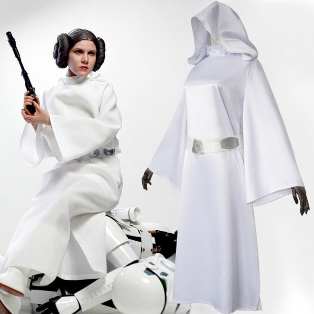 Star Wars Princess Leia Cosplay Costume White Dress For Women Evening Party Dresses