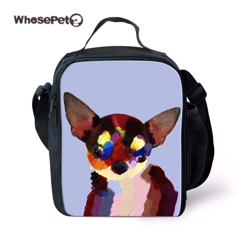 WHOSEPET Print Dogs Fashion Kids Lunch Bags Thermal Cute For Girls Picnic Children Food Bag Bolsa Insulated Shoulder Bag Kawaii