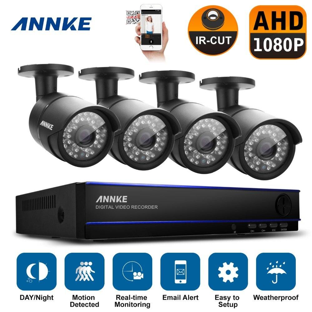 ANNKE 4CH Full HD 1080P CCTV System 1080P CCTV DVR 2.0MP AHD Security Cameras CCTV Outdoor Video Surveillance DVR Kit