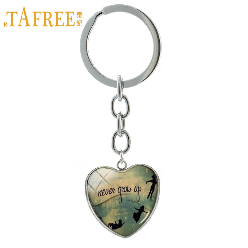 TAFREE Cartoon anime Peter Pan Never grow up Neverland keychain The Lost Boys key chains ring men women kids gifts jewelry HP143