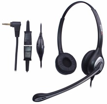 Wantek 2.5mm Telephone Headset with Noise Canceling Mic + Quick Disconnect for Polycom Grandstream Panasonic Zultys Gigaset AT&T